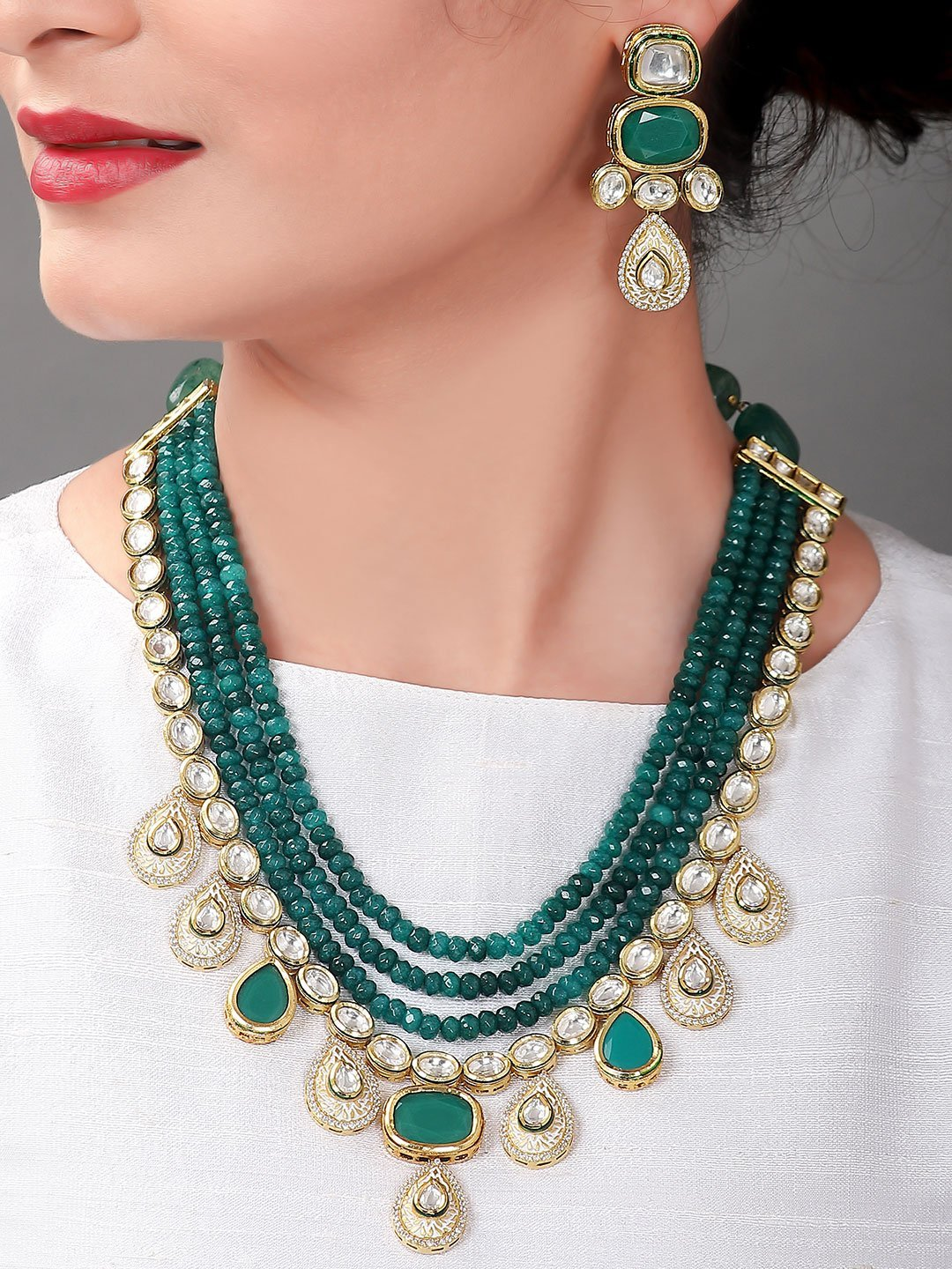 Green Glory Set Necklace Set_ SIA Art Jewellery