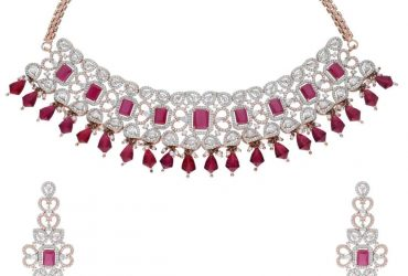 Majestic Ruby CZ Rose Gold Necklace Set_SIA Art Jewellery