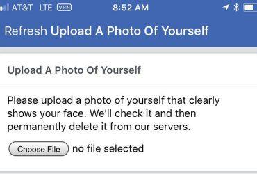 Facebook Bevestig uw identiteit met een foto van uzelf: verifieer