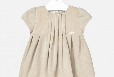 Girls Sand Corduroy Dress With Pleats & Lace